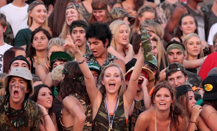 Student section at Desert Vista football games