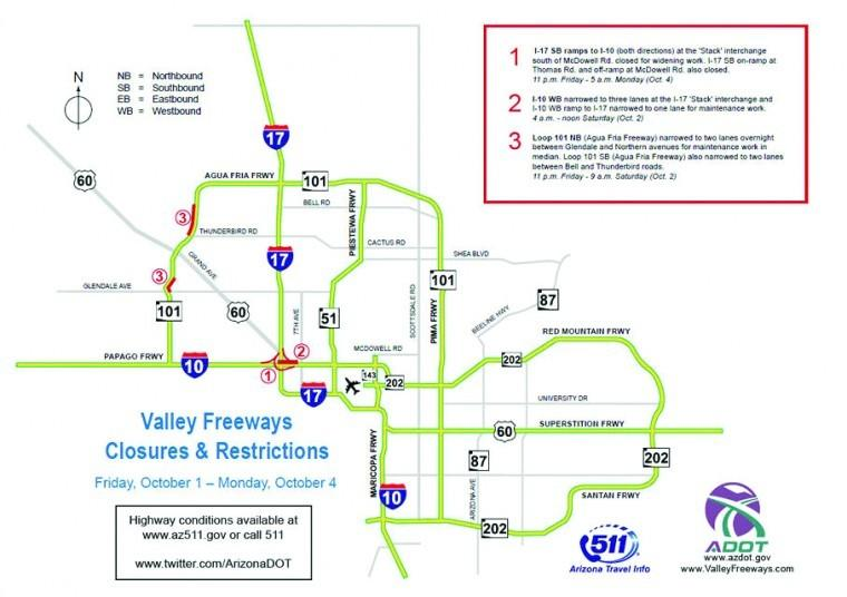 Weekend closures and restrictions on Valley freeways Oct. 1-4