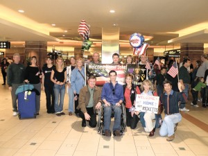 Sergeant John Ricketts arrives at Sky Harbor Airport