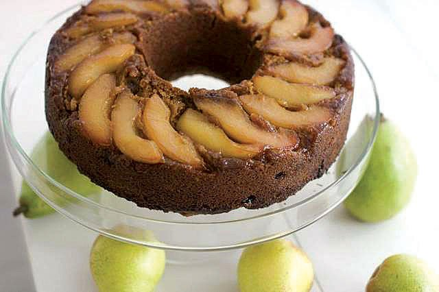 Lemon pear upside-down gingerbread cake