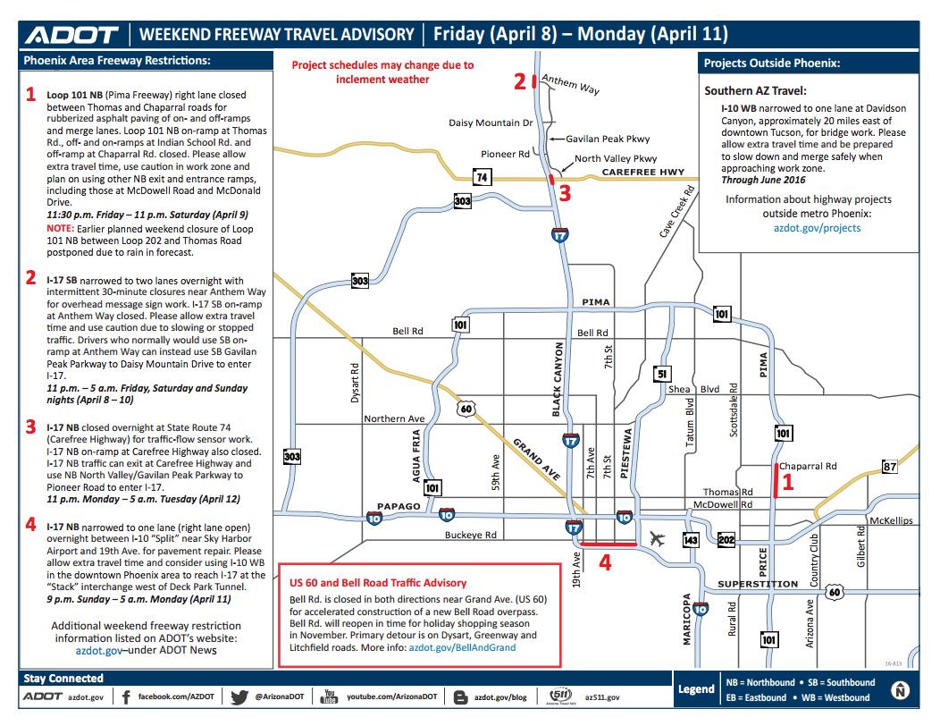 Adot Weekend Freeway Travel Advisory April 8 11