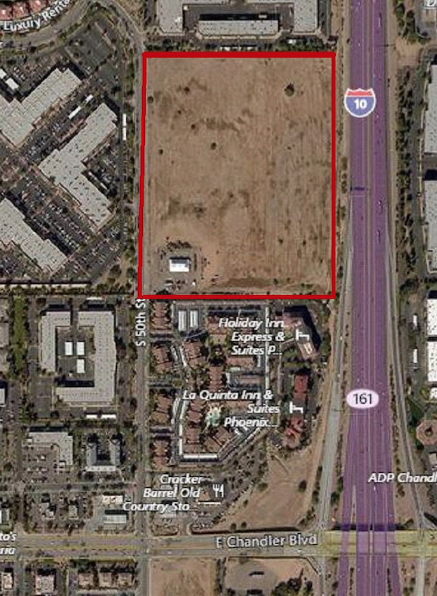This aerial shot shows the 28-acre site in Ahwatukee along the I-10 that Kyrene school officials are considering selling.