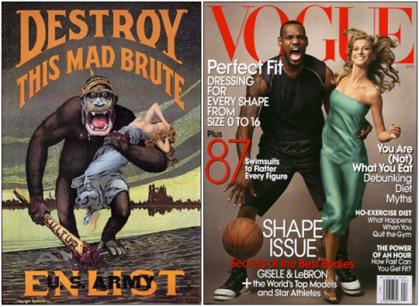 LeBron James' 2008 Vogue cover with Gisele Bündchen connects him with King Kong.