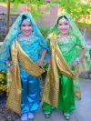 The twins are ready for Halloween in Bollywood costumes hand made by their grandmother ( including the jewelery!)