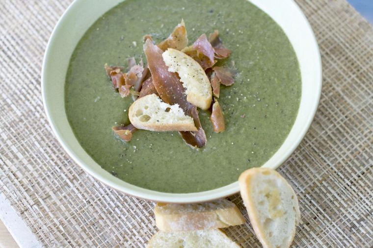 Potato and greens soup with parmesan toasts