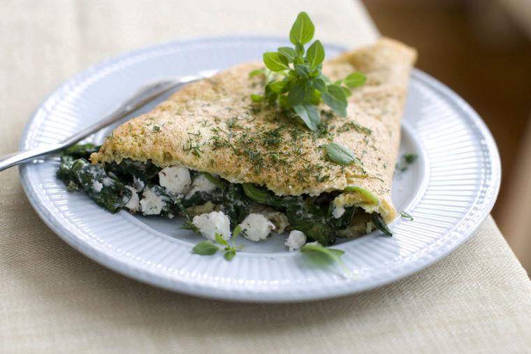 Greek-style souffled omelet