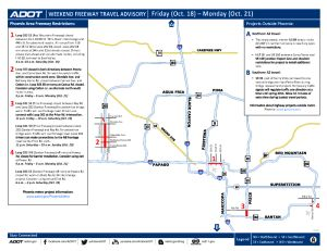 Weekend freeway travel advisory Oct. 18-21