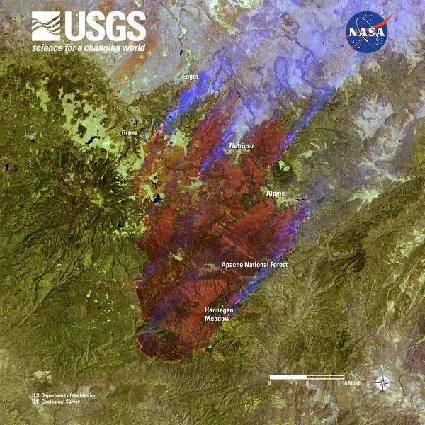 Arizona wildfire satellite image