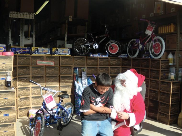 Santa gives bikes