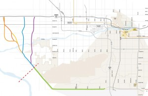 The Pecos Road alignment of the planned Loop 202 extension