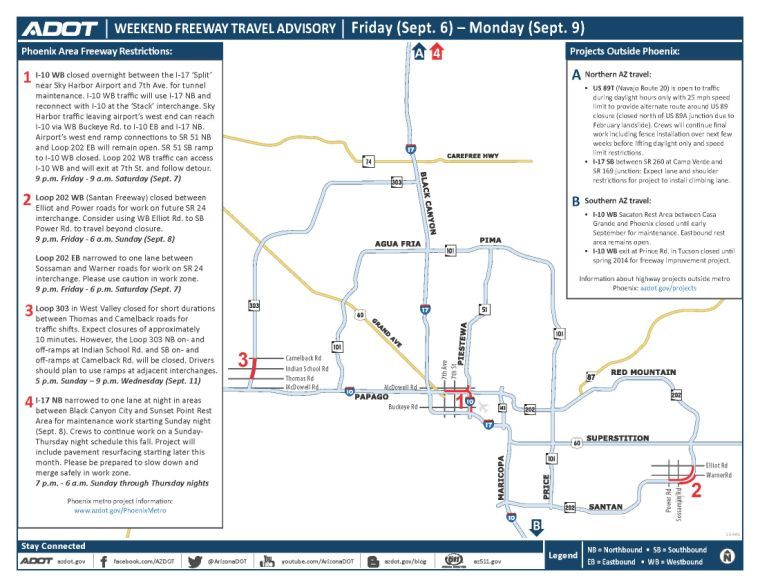 Weekend Freeway Travel Advisory (Sept. 6-9)