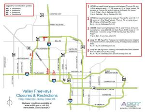 Weekend Closures & Restrictions on Valley Freeways, October 22 - 25, 2010