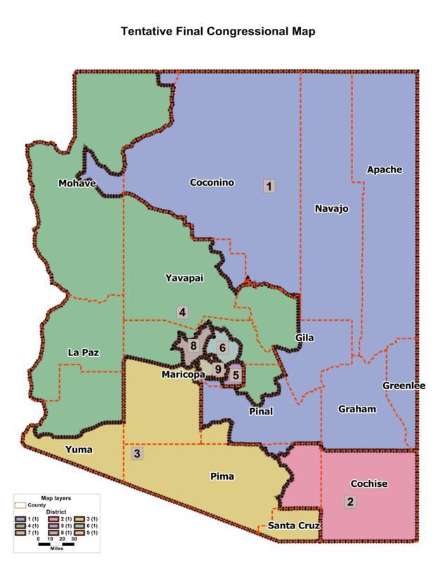 Arizona Statewide Congressional Redistricting Map -- Dec. 21, 2011