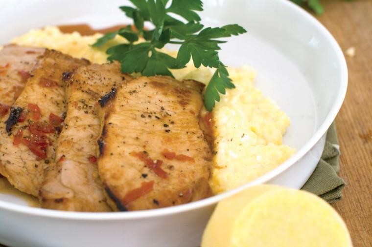 Pork cutlets with polenta