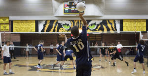 <p>Kevin Tate, #10 of Desert Vista, serves the ball during the state semi-final volleyball match between Gilbert and Desert Vista at Gilbert on Thursday, May 9, 2013.</p>