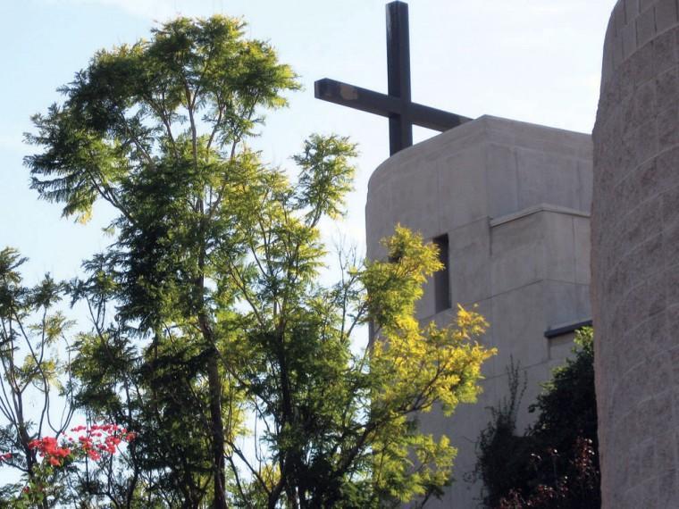 Bell tower at Corpus Christi Catholic Church
