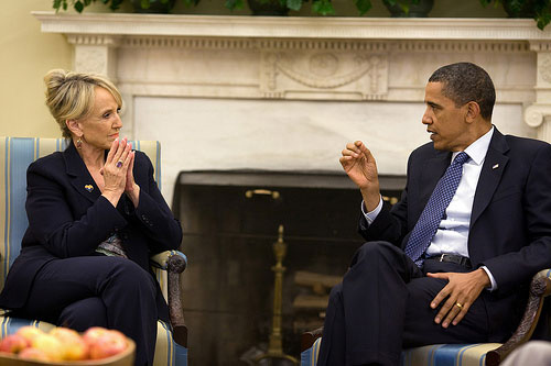 Jan Brewer and Barack Obama