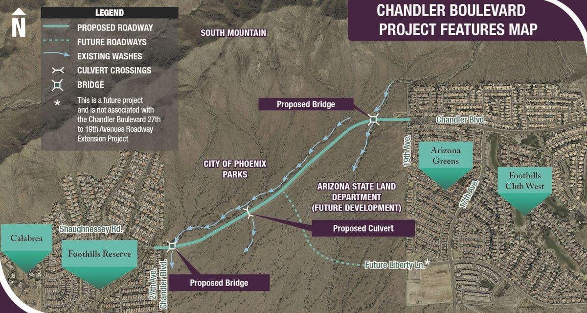 A markup of the two-lane Chandler Boulevard Extension
