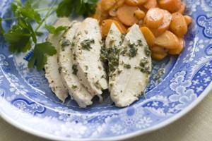 Simple roast chicken with fresh herb sauce