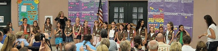 Local Brownies cross the bridge' to Girl Scouts