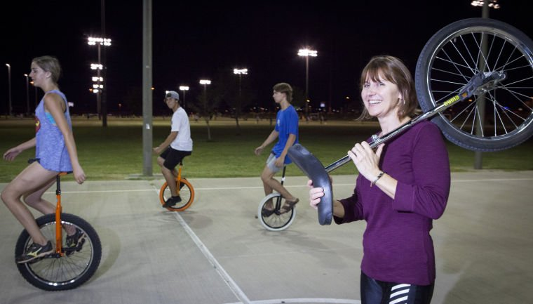 Unicycling at Pecos Park