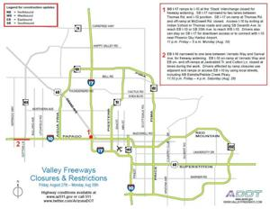 Weekend closures and restrictions on Valley freeways, Aug. 27 - 30