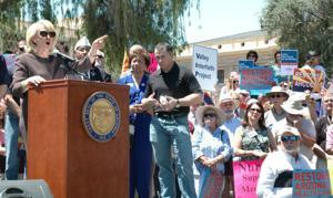 Jan Brewer at Medicaid rally