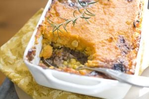 Sweet potato and bison shepherd's pie