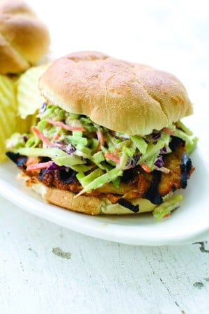 Thai Peanut Barbecue Turkey Cutlet Burger 
