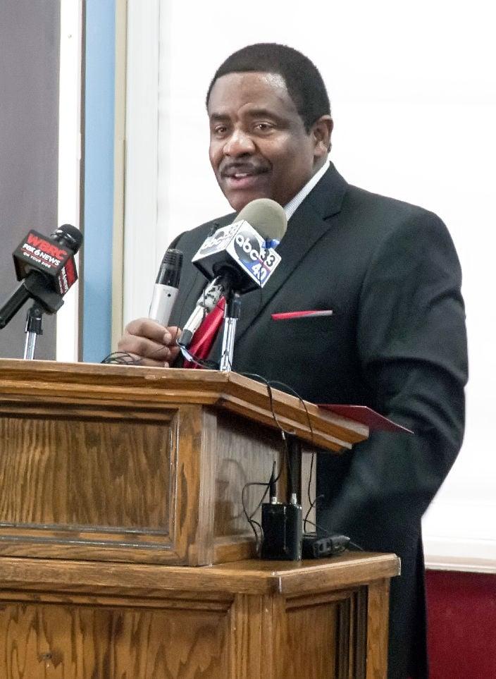 Talladega College President Dr. Billy C. Hawkins addresses media, students