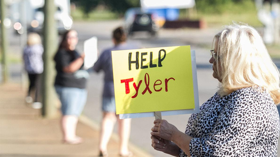 Cindy Burk, friends protests for her son, Tyler Freeman (photos)