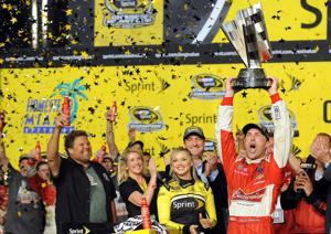<p>The Sprint Cup points championship belonged to Kevin Harvick after the Ford EcoBoost 400 on Sunday at the Homestead-Miami Speedway in Homestead, Fla. (Robert Duyos/Sun Sentinel/MCT)</p>