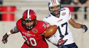 <p>Jacksonville State linebacker Nigel Terrell playing against UT Martin earlier this season. Last year, Terrell was with Florida State's national-title-winning team.</p>