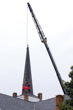 First Christian Church steeple repairs