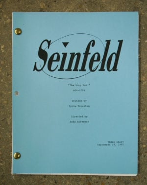 "<p>The ""Seinfeld"" script for the ""Soup Nazi"" episode. The script is a part of the collection Fuller French, director of The Broadcast American Radio and Television Script Library, has in his warehouse. </p>"