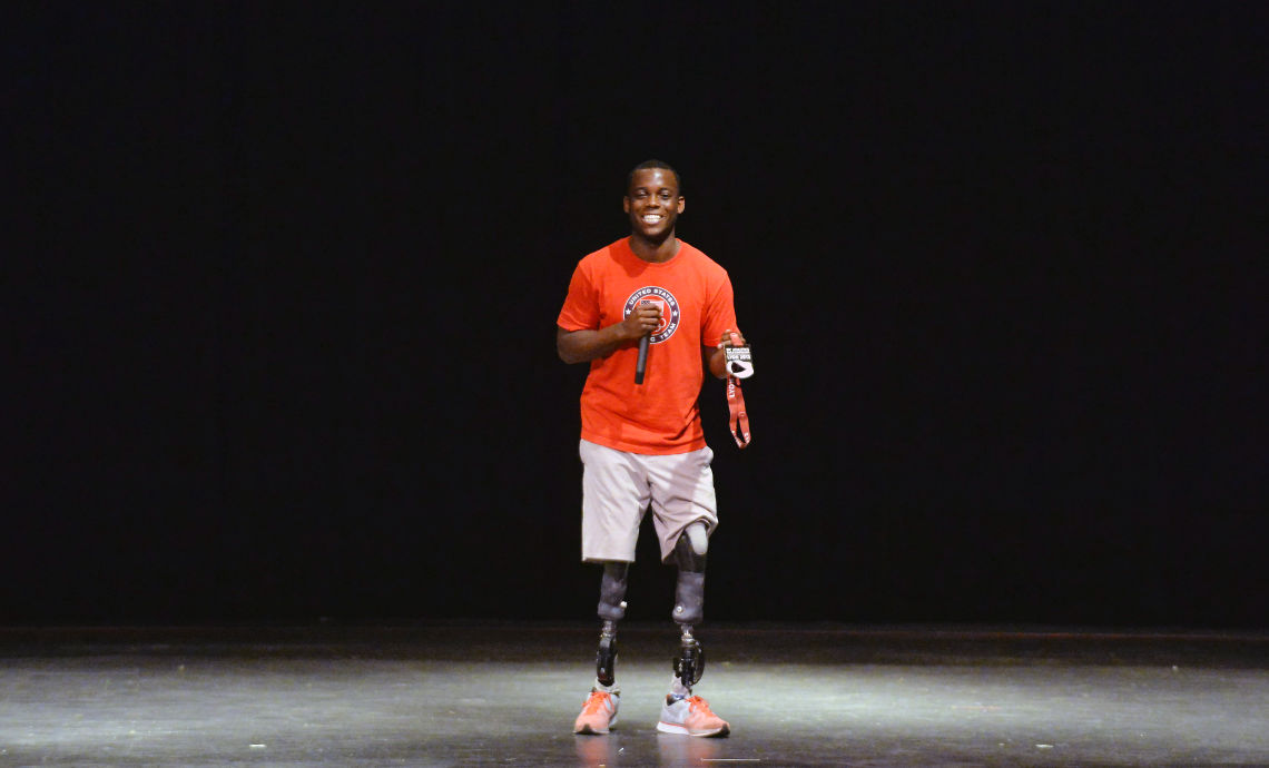 Paralympian Blake Leeper visits Anniston High School