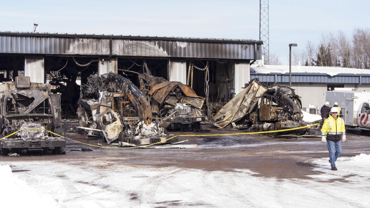 Fire guts Xcel Energy garage in Phillips