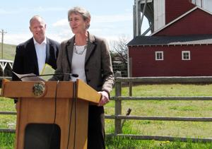 <p>Interior Secretary Sally Jewell, right, with Wyoming Gov. Matt Mead, announces federal plans to conserve sage grouse habitat on federal lands in 10 Western states Thursday at a ranch outside Cheyenne, Wyoming.</p>
