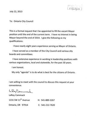 Former mayor requests to take over mayor vacancy