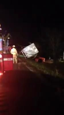 Route 33 accident results in charcoal spillage