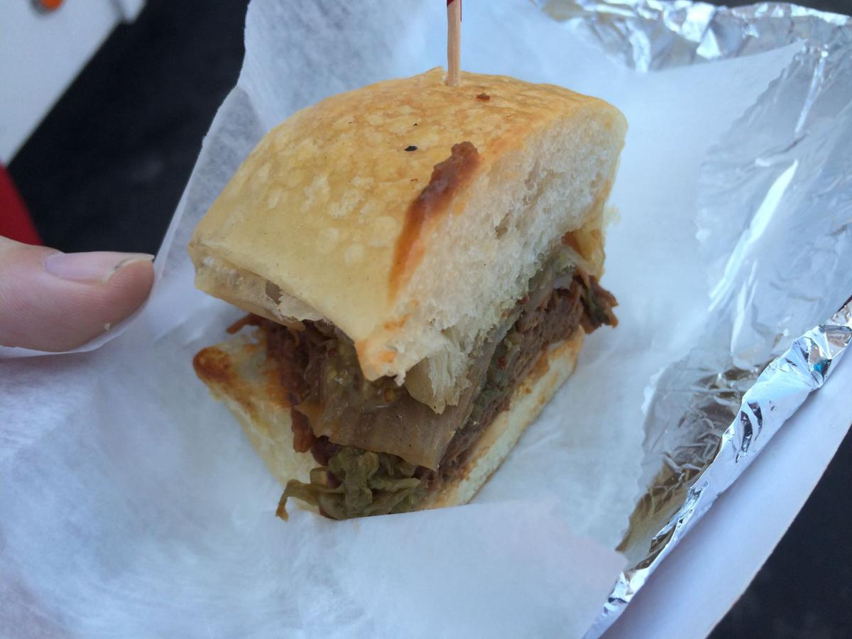 The braised BBQ beef sandwich served by the New York Wine and Culinary ...