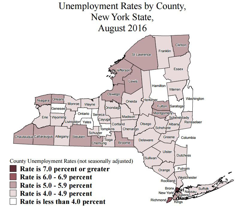 new york county unemployment rates for august 2016 ranked eye on ny. Black Bedroom Furniture Sets. Home Design Ideas