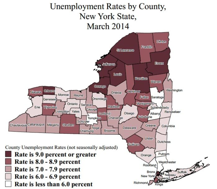 new york unemployment rates march 2014 where does your county rank. Black Bedroom Furniture Sets. Home Design Ideas