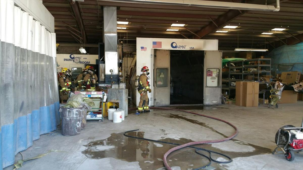 flagstaff firefighters put out a fire in a spray paint booth at terry. Black Bedroom Furniture Sets. Home Design Ideas