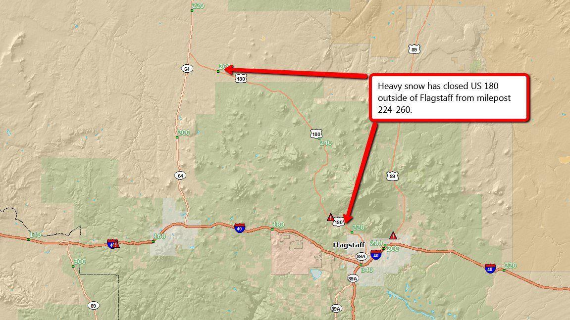 Highway 180 north of Flagstaff closed due to snow
