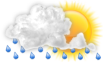 Mainly cloudy with rain, windy