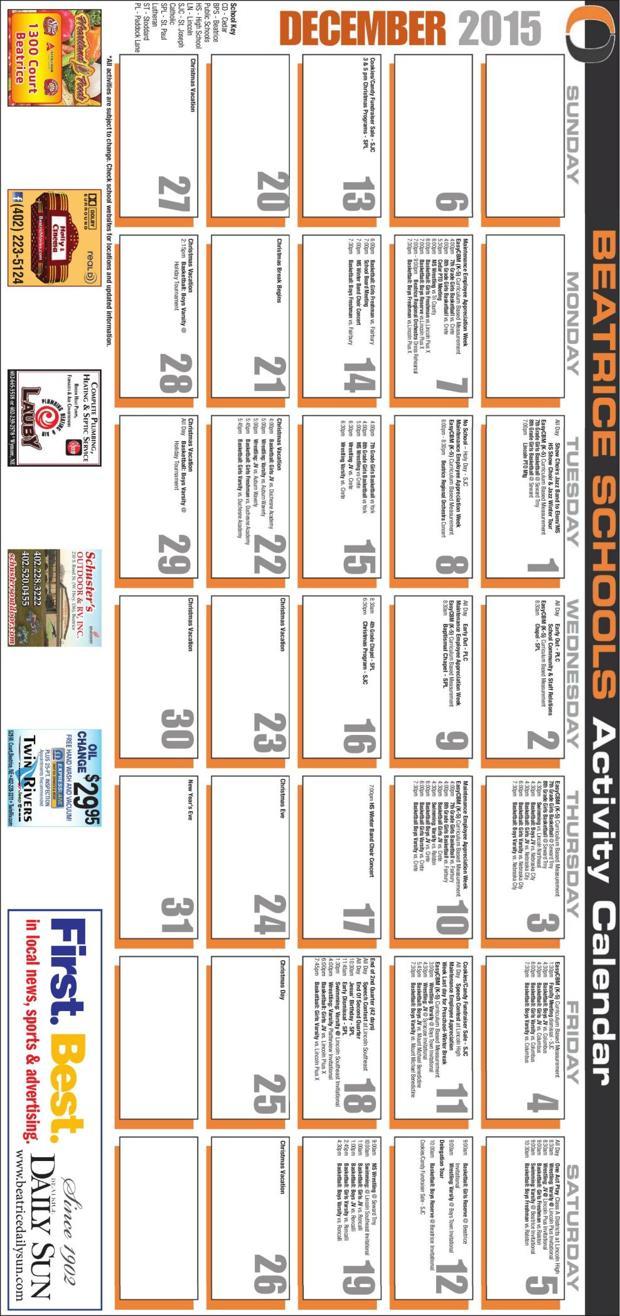 Beatrice Schools Activity Calendar December 2015