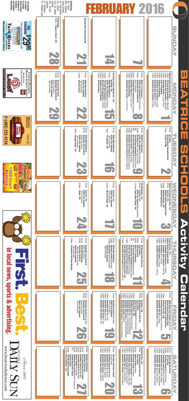 Beatrice Schools Activity Calendar February 2016