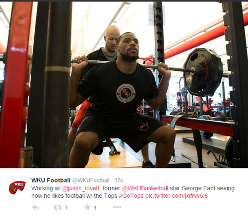 Fant working out with WKU football program