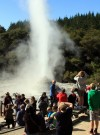 Visitors watch Lady Knox Geyser erupt